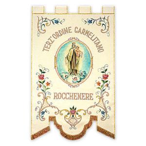 Stendardo Processionale Terz'Ordine Carmelitano ricamato da Venturini Arredi Sacri