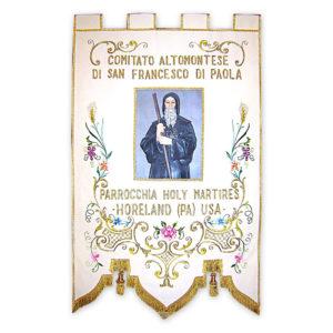 Stendardo Processionale San Francesco ricamato da Venturini Arredi Sacri
