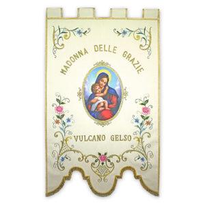 Stendardo Processionale Madonna delle Grazie ricamato da Venturini Arredi Sacri