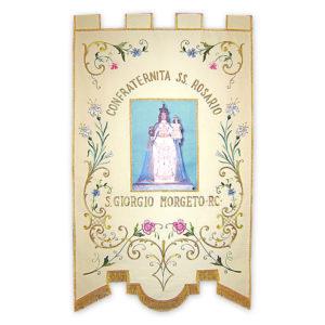 Stendardo Processionale Madonna del Rosario ricamato da Venturini Arredi Sacri