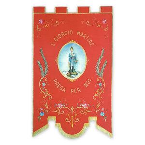 Stendardo Processionale San Giorgio Martire ricamato da Venturini Arredi Sacri